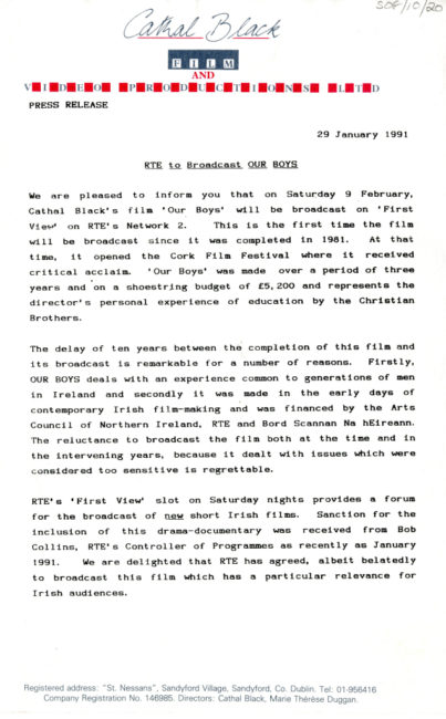 Press release relating to the broadcast of Our Boys (1981)