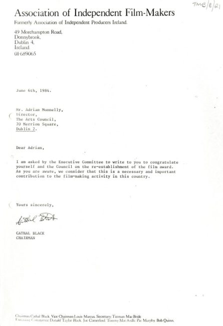 Letter from Cathal Black to the Arts Council, during his time as Chairman of the Association of Independent Film-Makers