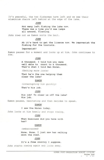 Script excerpt from Korea (1995), feature film also based on a story by John McGahern. Script by Joe O'Byrne, John Dalton and Cathal Black