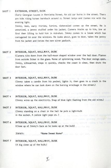 Script excerpt from Pigs (1984), written by Jimmy Brennan