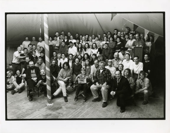 Cast and crew on the set of The Butcher Boy