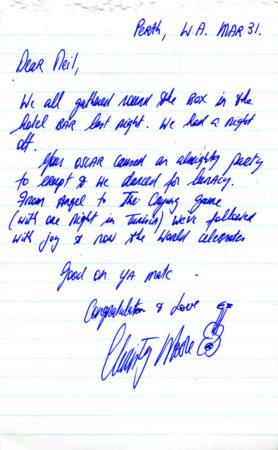Christy Moore's note congratulating Neil Jordan for winning the Academy Award for Best Original Screenplay