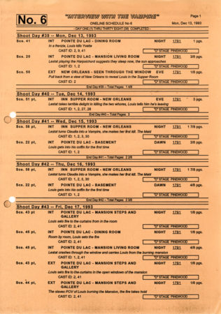 Shooting schedule, front page
