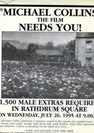 Michael Collins poster calling for extras