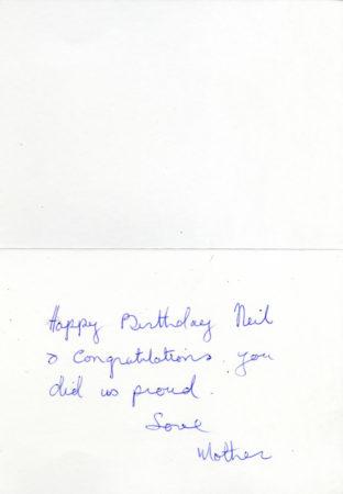 Neil Jordan's mother's note congratulating him for his Oscar win